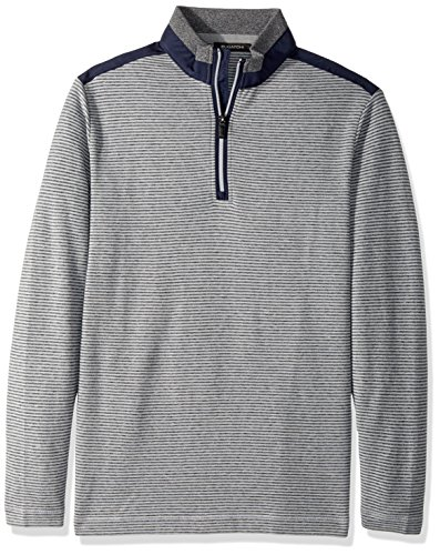 Half Zip Knit Top (Bugatchi Herren Men's Cotton Long Sleeve Half Zip Knit Henley Shirt, Cement, Klein)