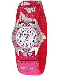 Ravel Kinder-Armbanduhr Ravel Children's Butterfly Velcro Strap Watch. Analog Nylon Mehrfarbig R1507.50