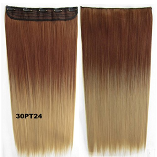 WEATLY Fünf-Karten-Stück Haarverlängerung Stück ohne Spur Gradient Perücke Stück Länge 55cm, Gewicht 150g (Color : Color 30PT24)