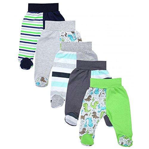 TupTam Unisex Baby Hose mit Fuß Bunte Strampelhose 5er Pack, Farbe: Junge 3, Größe: 62
