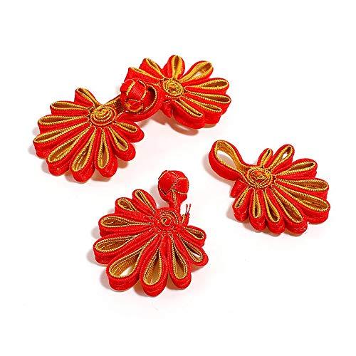 Bingpong 10 Paare Satin Chinesische Frosch Verschluss Knöpfe Chrysantheme Blume Knoten Verschluss für Cheongsam Tang Anzug Nähen Handarbeit Handwerk (Gold + Rot) -