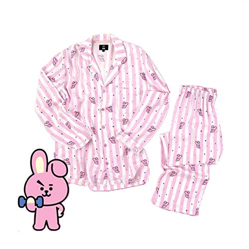 KPOP BTS Bangtan Boys BT21 Versión de Dibujos Animados Jung JOOK Jimin V Same Pijama de Harajuku Camisa de Manga Larga Noche Hombre Mujer Bedgown,pink,S