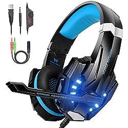 VersionTECH G9000 - Auriculares gaming estereo con micrófono - PS4, Nintendo, Xbox, Wii, PC - Azul
