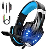 VersionTECH. Auriculares Gaming Estéreo Profesional Bass Over-Ear Con Micrófono y 3.5mm Jack, Luz LED, Bajo Ruido Compatible Para PS4 / PC / Nueva Xbox One / Ordenador Portátil (Azul)