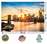 XXL Poster New York Skyline Brooklyn Bridge 140cm x 100cm HD XXL Bild Wand-bild | Fotoposter Manhattan bei Sonnenuntergang downtown east river USA Deko | + GRATIS Poster