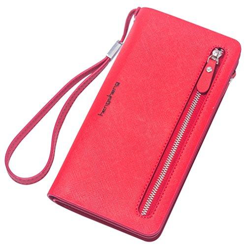 Panzexin Damen Cross-Muster lange Reißverschluss Brieftasche mit großer Kapazität Portemonnaie (Brieftasche Reißverschluss Blaue Mit)