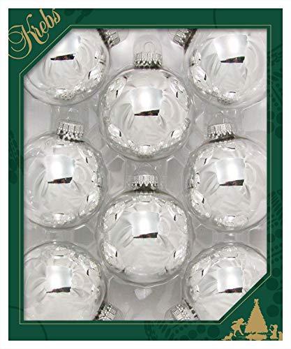 Dekohelden24 Original Lauschaer Christbaumschmuck - 8er Set Kugeln Uni Silber glänzend, 6,7 cm, mit silbernem Krönchen + 50 Schnellaufhänger dazu