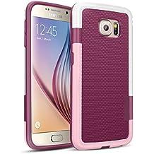 Galaxy S6 Funda - [Ultra Hybrid] HanLuckyStars Funda Carcasa Case TPU Matte Shell Exact Bumper Tope Shock Protección Gota Anti-Arañazos , Choque Absorción Borrar Espalda para Samsung Galaxy S6 (RojoVino)