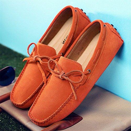 SGoodshoes Homme Confort Flâneur Cuir Conduire Voiture Mocassins Chaussures Bateau Orange