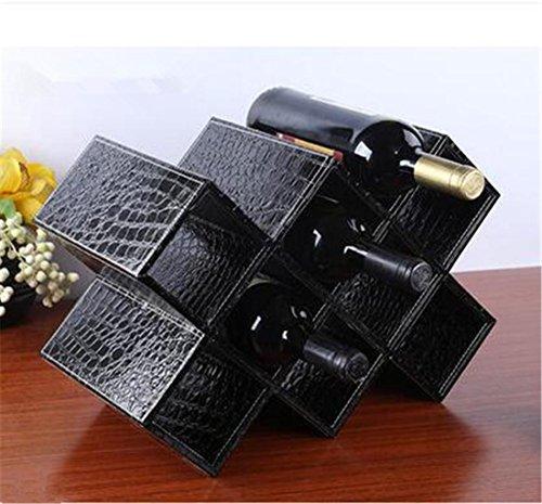 MIWENModernen Einfache Leder Speicher Schwarz Krokodil Muster Wine Rack Acht Lattice 41,5 * 20 * 28cm Wohnzimmer Tabelle 10 Flaschen 750ML Wein (Schwarz Speicher-rack)