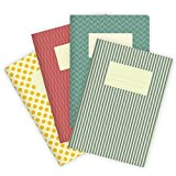 Etmamu 540 - Set di 4 quaderni per appunti, motivo colorato, 32 fogli bianchi