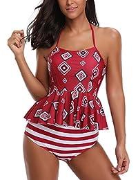 091dba1746e AYEEBOOY Women s Plus Size Floral Halter Tankini Set with Boyshort High  Waist Swimsuit Bikini