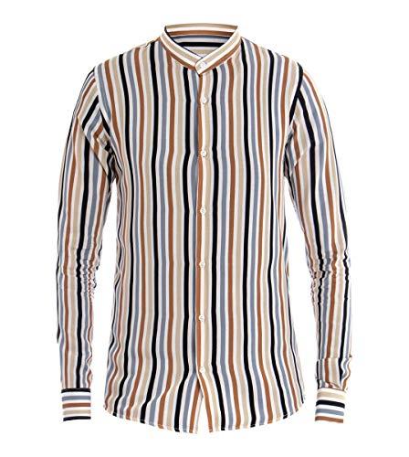 35e4cc4207 Giosal camicia uomo collo coreano righe rigata maniche lunghe casual  beige-xl