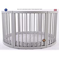 MJmark VERY LARGE Wooden Round PLAYPEN ATLAS QUATTRO with play-mat in Grey with white Stars SALE SALE