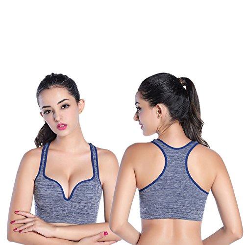 Ancdream Nouveau Femmes Soutien-Gorge Rembourr¨¦ Haute Qualit¨¦ Athletic Bra de Gym-Fitness-Yoga Sport Bleu Fonce