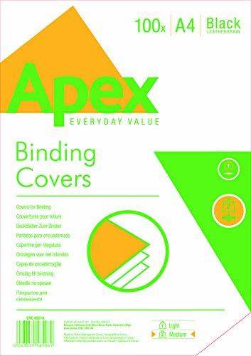 apex-65010-pack-de-100-portadas-cartulina-imitacion-cuero-a4-color-negro