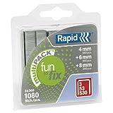Rapid, 40108715, Agrafes Multipack, Longueur 4-8mm, 1080 pièces, Pour le textile et la décoration, Fil galvanisé, Haute performance