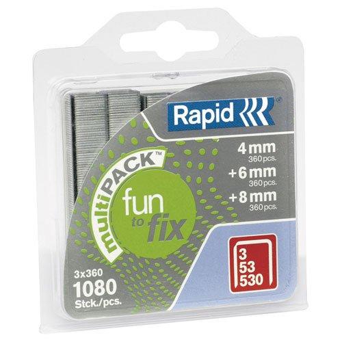 Rapid, 40108715, Agrafes Multipack, Longueur 4-8mm, 1080 pièces,...