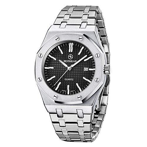 Bersigar elegante orologio da uomo al quarzo sofisticato orologio da polso al quarzo analogico da uomo cinturino in acciaio inossidabile, impermeabile 50 m