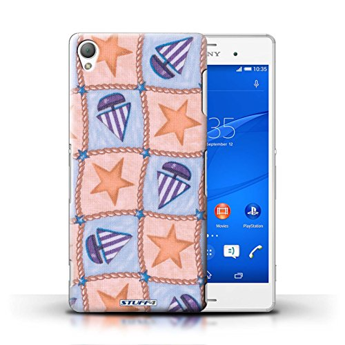 iCHOOSE Print Motif Coque de protection Case / Plastique manchon de telephone Coque pour iPhone 6+/Plus 5.5 / Collection Bateaux étoiles / Brun/Bleu Pêche/Violet