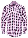 ALMBOCK Trachtenhemd Herren kariert | Slim-fit Männer Hemd mehrfarbig rot-blau-weiss kariert | Karo Hemd aus 100% Baumwolle in den Größen S-XXXL