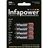 Infapower AAA 550mAh - Batería/Pila recargable (550 mAh, Universal, Níquel metal hidruro) Multi