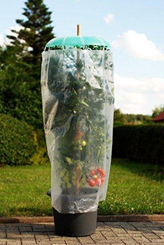 KHW 3 Tomatenhüte (Ø: je 49 cm); 3 Bewässerungsschläuche (L: je 120 cm); 3 Schutzfolien; 3 x 10 Folienhalter; Anleitung