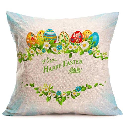 Kissenbezug 43 x 43 cm Tier Kaninchen Eier Ostern Sofa Taille Bett Home Decor Festival Kissenhülle LuckyGirls (R)