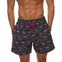 Juleya Pantalones Cortos de Playa para Hombre Troncos de baño de Secado rápido para Hombres con Bolsillos Piña Imprimir Deportes Surfing Watershort