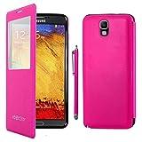 ebestStar - Compatible Coque Samsung Galaxy Note 3 Lite SM-N7505 Etui Slim Housse Portefeuille Fenêtre View + Stylet, Rose [Appareil: 148.4 x 77.4 x 8.6mm 5.5'']