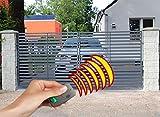 SO28 Einfahrtstor Hoftor Doppelflügeltor Gartentor Berlin mit elektr. Antrieb und Riegelset 400 x 150 cm Komplett-Set inklusive 2 Torelementen, 2 Natursteinoptik-Pfosten und Beschlägen. Gesamtbreite ist ca. 483 cm