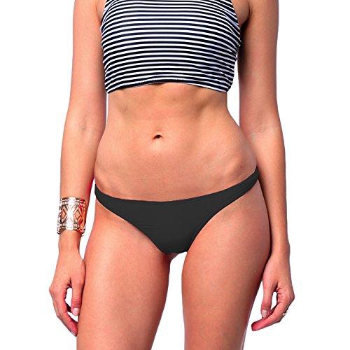 Damen Brazilian Style T-Back Tanga Thong Bikinislip Bikinihose Schwarz XL
