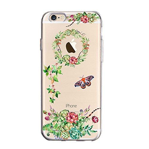 iPhone 6 6S Hülle,Silikon Schutzhülle für iPhone 6 6S, Sunroyal Schön Blume Bunt Muster Kristall Klar Anti-Scratch Weich Flexibel Bumper TPU Gel Handyhülle Ultra dünn Durchsichtige Tasche Case Cover E Muster 10
