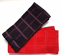 2 pack of kitchen towels featuring 2 colors, Machine Washable, 100% Cotton, 16 inch by 26 inch
