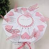 Hochzeitsgeschenk - Schachteltorte m. Schmetterlingen & Herzen - Butterfly WEISS-ROSA - Geldgeschenk, Geschenkidee Hochzeit