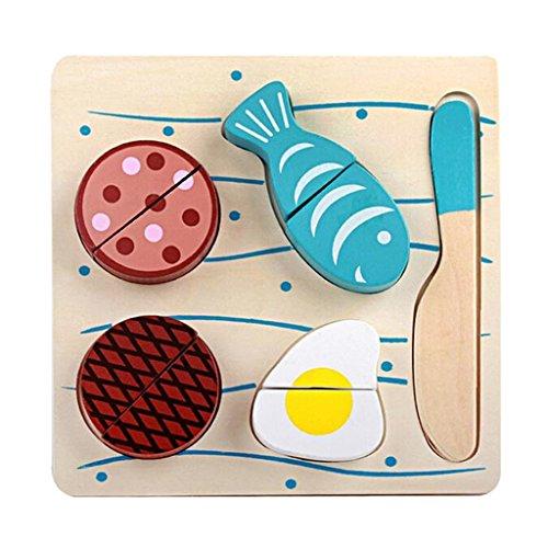 Preisvergleich Produktbild Gazechimp Magnetische Obst und Gemüse Spielzeug mit Holzschneider und Board Set Lebensmittel Lernspielzeug Geschenk für Baby Kinder - Fisch Set