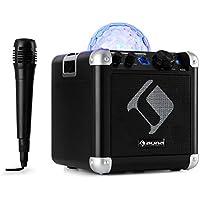 auna BC-10 • Karaoke-Anlage • Mini-Sound-System • Karaoke-System • LED-Stroboskop • 15-Watt-RMS-Ausgangleistung • Bluetooth • USB-Eingang • Gewicht: 1,7 Kg • Akku • Tragegurt • robust • schwarz