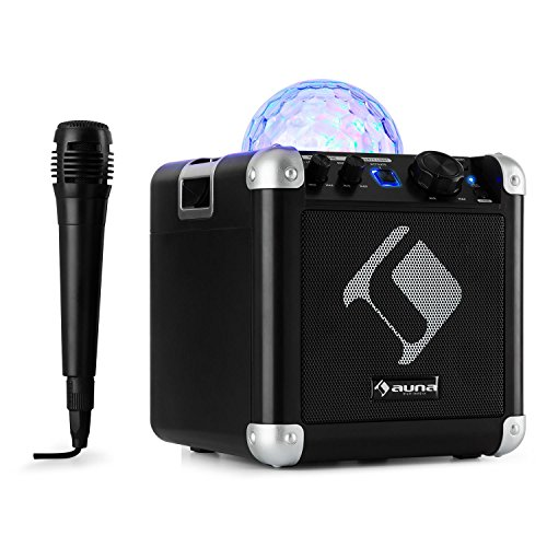 auna BC-10 • Karaoke-Anlage • Mini-Sound-System • Karaoke-System • LED-Stroboskop • 15-Watt-RMS-Ausgangleistung • Bluetooth • USB-Eingang • Gewicht: 1,7 Kg • Akku • Tragegurt • robust • schwarz -