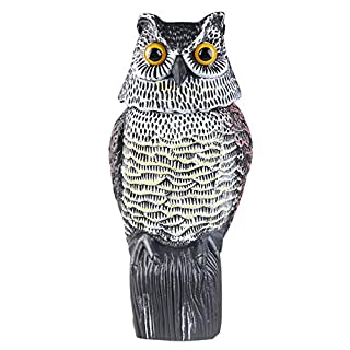 Asenart Scarecrow Fake Owl Decoy, Large Realistic Owl Decoy With Rotating Head Garden Owl Animal Repellent Deters Birds, Pests & Squirrel