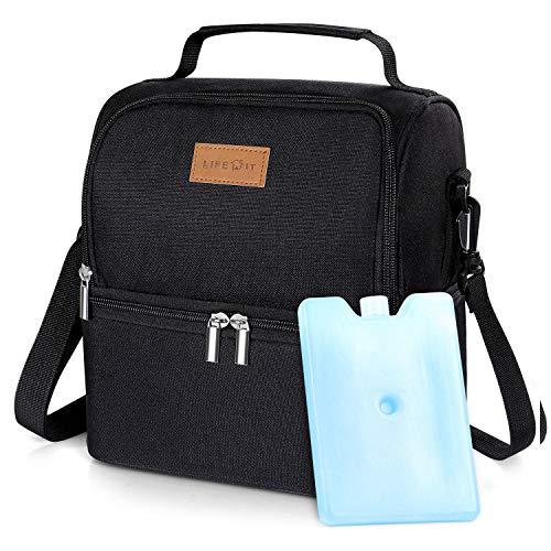 Lifewit Kühltasche klein mit Kühlakku Lunchtaschen Isoliert Thermotasche Isoliertasche Picknicktasche für Lebensmitteltransport,Schwarz - Kleine Thermische