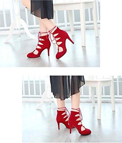 Tamanho Europa Ponto Partido Esfregar Beauqueen Elegantes Sandálias 34 Casuais Trabalho Mulheres Preto 39 Laços Vermelho Cintas 7vngq