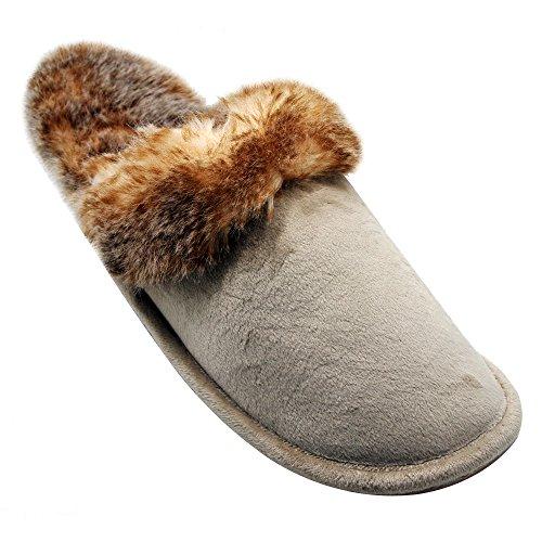 Alxcio Wildleder Hausschuhe Hüttenschuhe Unisex Slipper Herren Damen Schuhe Warm Gefuettert Pantoffeln für Mädchen Junge, Grau Beige