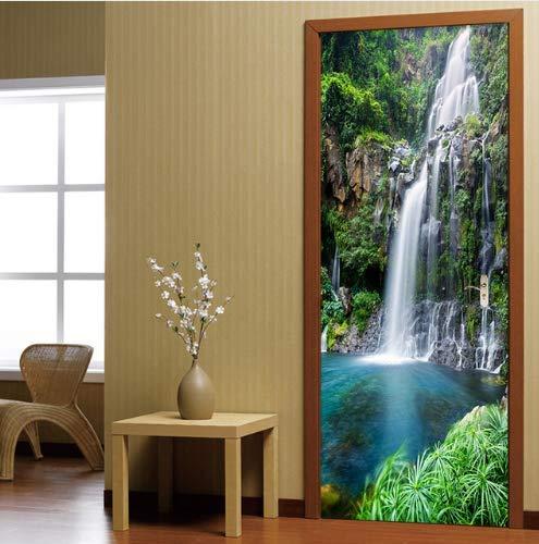 Preisvergleich Produktbild 3D Chinesischen Stil Tür Wasserfall Landschaft Foto Papier Zimmer Schlafzimmer Dekoration Wasserdicht PVC Selbstklebend