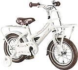 Kinderfahrrad Liberty Cruiser 12 Zoll weiß braun Mädchen Fahrrad mit Gepäckträger, Luftbereifung und Rücktrittbremse
