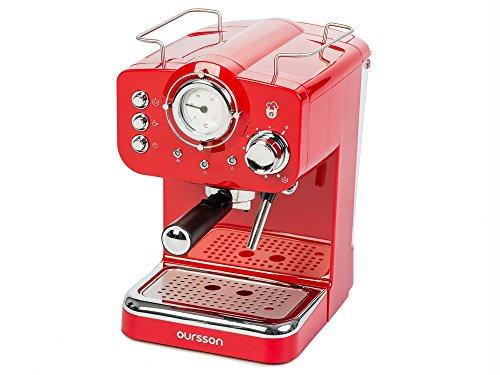 Oursson EM1500/RD, 15 Bar Manuelle Espressomaschine, Milchaufschäumer für Cappuccino und Latte,...