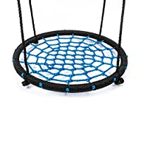 "Slides & Swings IBUYTOP Swing Set Accessories Fabric Saucer Spinner Swing Easy Install on Swing Set or Tree Polyethylene Rope with Steel Frame 24""(Black/Blue)63cm*63cm*7cm"