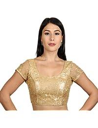 546a3566f6715 Rinkoo Women s Art Silk Gold Net Princess Cut Padded Readymade Saree Blouse