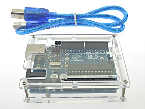 51H HDfVHmL - [Sintron] Arduino Uno R3 Board Starter Kit with PDF files & Tutorial CD en español + Transparent Acrylic Case LCD Servo Motor Sensor Module etc, for Arduino Starter Learner
