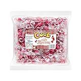 Herzbonbons Rocks Bonbons - Süße Herzen - für Hochzeit Taufe Kommunion 500g rot-weiß - handgewickelte Rocks-Bonbons mit rotem Herz
