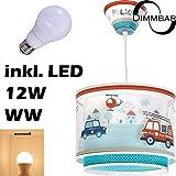 LED Lampe Kinderzimmer Decke Pendelleuchte Feuerwehr 60612 Dimmbar warmweiß 1000lm Jungen